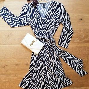 INC Black and White Striped Wrap Dress